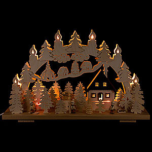 Candle Arches Fret Saw Work Candle Arch - Winter in the Ore Mountains - 50x31 cm / 19.7x12.6 inch