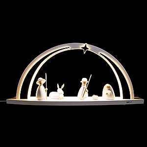 Candle Arches All Candle Arches Candle Arch - modern wood WHITE LINE - Nativity - 57x26x10 cm / 22.4x10.2x3.9 inch