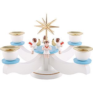 World of Light Candle Holder Angels Candle Holder - Advent Blue/White with Sitting Angels - 29x29x19 cm / 11.5x11.5x7 inch