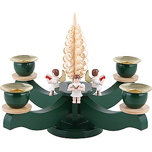 World of Light Candle Holder Angels Candle Holder - Advent Four Sitting Angels with Wood Chip Tree - 22x19 cm / 8.7x7.5 inch