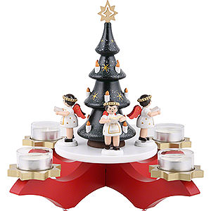 World of Light Candle Holder Angels Candle Holder - Advent Red with Christmas Tree and Four Angels - 27 cm / 10.6 inch