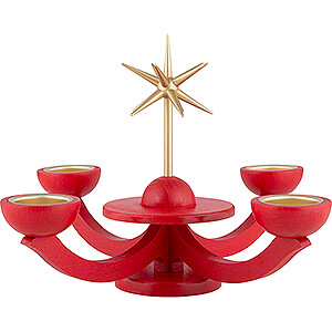 Candle Holder Advent Red, with Tea Candle Holder - 31x31 cm / 12.2x12.2 inch