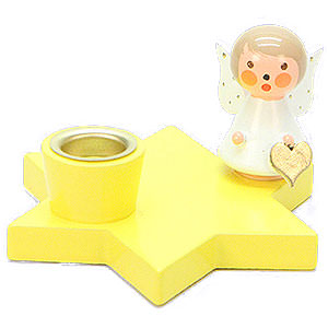 World of Light Candle Holder Angels Candle Holder - Angel on Star - Yellow - 3 cm / 1.2 inch