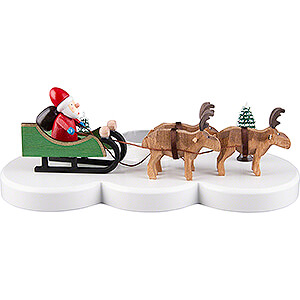 World of Light Candle Holder Santa Claus Candle Holder - Ruprecht and his reindeers - Colored - 9 cm / 3.5 inch