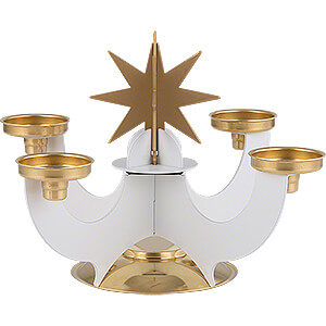 World of Light Advent Candlestick Candle Holder with Incense Cone Option - White - 16 cm / 6.3 inch