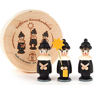 Small Figures & Ornaments Carolers Carolers black in Wood Chip Box - 3,5 cm / 1.4 inch