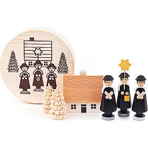 Small Figures & Ornaments Carolers Carolers black in Wood Chip Box - 4 cm / 1.6 inch