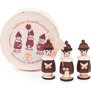 Small Figures & Ornaments Carolers Carolers natural in Wood Chip Box - 3,5 cm / 1.4 inch