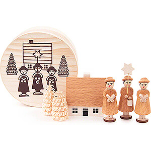 Small Figures & Ornaments Carolers Carolers natural in Wood Chip Box - 4 cm / 1.6 inch