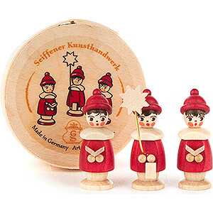 Small Figures & Ornaments Carolers Carolers red in Wood Chip Box - 3,5 cm / 1.4 inch