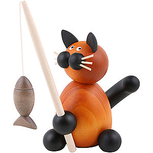 Small Figures & Ornaments Animals Cats Cat Bommel with Fish - 8 cm / 3.1 inch