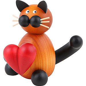 Small Figures & Ornaments Animals Cats Cat Bommel with Heart - 8 cm / 3.1 inch