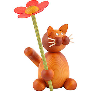 Small Figures & Ornaments Animals Cats Cat Charlie with Flower - 8 cm / 3.1 inch