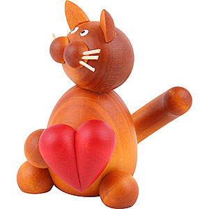 Small Figures & Ornaments Animals Cats Cat Charlie with Heart - 8 cm / 3.1 inch