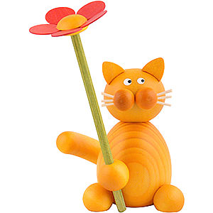 Small Figures & Ornaments Animals Cats Cat Emmi with Flower - 8 cm / 3.1 inch