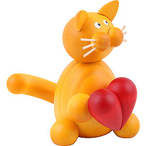 Small Figures & Ornaments Animals Cats Cat Emmi with Heart - 8 cm / 3.1 inch