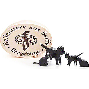 Small Figures & Ornaments Animals Cats Cat Family in Wood Chip Box - 3,5 cm / 1.4 inch