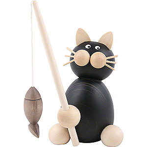 Small Figures & Ornaments Animals Cats Cat Hilde with Fish - 8 cm / 3.1 inch