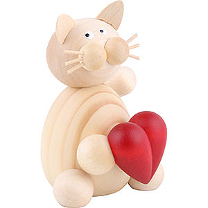 Small Figures & Ornaments Animals Cats Cat Moritz with Heart - 8 cm / 3.1 inch