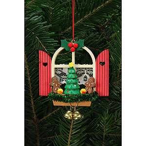 Baumschmuck Weihnachten Christbaumschmuck Adventsfenster mit Lebkuchen - 7,6x7,0 cm