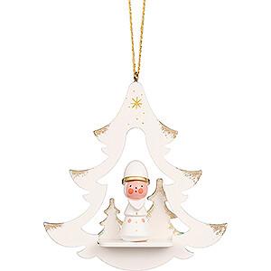 Baumschmuck Weihnachtsmann Christbaumschmuck Baum weiß mit Niko - 8,7 cm