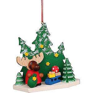 Baumschmuck Weihnachtsmann Christbaumschmuck Elch Weihnachtsmann im Wald - 8,6 cm