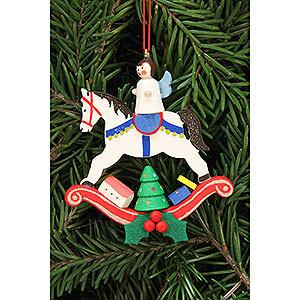 Baumschmuck Spielzeug-Design Christbaumschmuck Engel auf Schaukelpferd - 6,8x7,4 cm