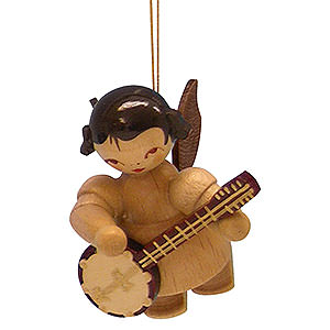 Baumschmuck Engel Baumbehang Schwebeengel - natur Christbaumschmuck Engel mit Banjo - natur - schwebend - 5,5 cm