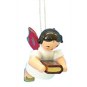 Baumschmuck Engel Baumbehang Schwebeengel - rote Flügel Christbaumschmuck Engel mit Bibel - Rote Flügel - schwebend - 6 cm