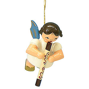 Baumschmuck Engel Baumbehang Schwebeengel - blaue Flügel Christbaumschmuck Engel mit Didgeridoo - Blaue Flügel - schwebend - 5,5 cm