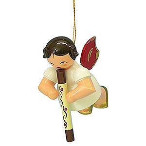Baumschmuck Engel Baumbehang Schwebeengel - rote Flügel Christbaumschmuck Engel mit Didgeridoo - Rote Flügel - schwebend - 5,5 cm