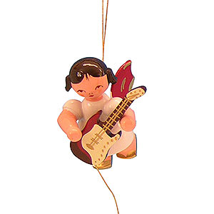 Baumschmuck Engel Baumbehang Schwebeengel - rote Flügel Christbaumschmuck Engel mit E-Gitarre - Rote Flügel - schwebend - 5,5 cm