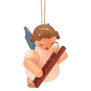 Baumschmuck Engel Baumbehang Schwebeengel - blaue Flügel Christbaumschmuck Engel mit Fagott - Blaue Flügel - schwebend - 5,5 cm