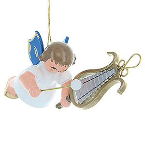 Weihnachtsengel Engel Baumbehang Schwebeengel - blaue Flügel Christbaumschmuck Engel mit Glockenspiel - Blaue Flügel - schwebend - 5,5 cm