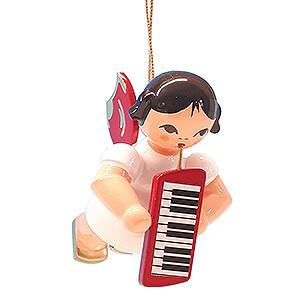 Weihnachtsengel Engel Baumbehang Schwebeengel - rote Flügel Christbaumschmuck Engel mit Melodica - Rote Flügel - schwebend - 5,5 cm