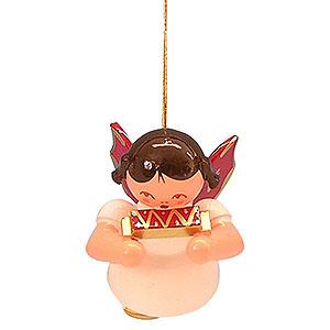 Baumschmuck Engel Baumbehang Schwebeengel - rote Flügel Christbaumschmuck Engel mit Mundharmonika - Rote Flügel - schwebend - 5,5 cm