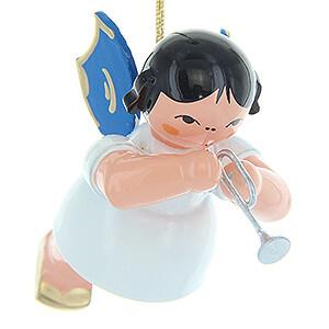 Weihnachtsengel Engel Baumbehang Schwebeengel - blaue Flügel Christbaumschmuck Engel mit Piccolotrompete - Blaue Flügel - schwebend - 5,5 cm