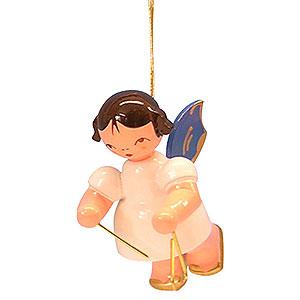 Baumschmuck Engel Baumbehang Schwebeengel - blaue Flügel Christbaumschmuck Engel mit Triangel - Blaue Flügel - schwebend - 5,5 cm
