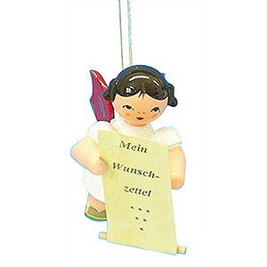 Baumschmuck Engel Baumbehang Schwebeengel - rote Flügel Christbaumschmuck Engel mit Wunschzettel - Rote Flügel - schwebend - 6 cm
