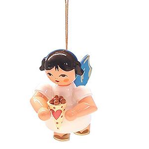 Weihnachtsengel Engel Baumbehang Schwebeengel - blaue Flügel Christbaumschmuck Engel mit gebrannten Mandeln - Blaue Flügel - schwebend - 5,5 cm