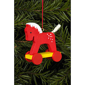 Baumschmuck Spielzeug-Design Christbaumschmuck Fahrpferdchen rot - 4,4x8,4 cm