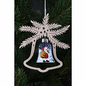 Baumschmuck Weihnachtsmann Christbaumschmuck Handbemalte Glasglocke Weihnachtsmann, 3er Set - 9x8 cm