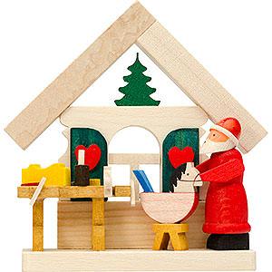 Baumschmuck Weihnachten Christbaumschmuck Haus Weihnachtsmann mit Werkstatt - 7,5 cm