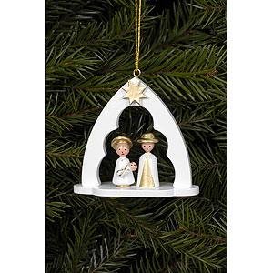 Baumschmuck Sonstiger Baumschmuck Christbaumschmuck Heilige Familie im Bogen weiss - 6,5x6,2 cm