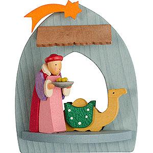 Baumschmuck Weihnachten Christbaumschmuck Krippe mit Balthasar, gebeizt - 8,5 cm