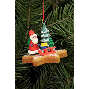 Baumschmuck Weihnachtsmann Christbaumschmuck Nikolaus auf Lebkuchenstern - 5,2x4,1 cm