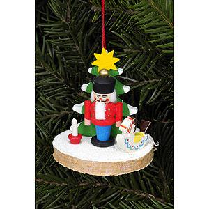 Christbaumschmuck Weihnachten Christbaumschmuck Nussknacker auf Baumscheibe - 5,1x5,1 cm