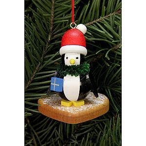 Baumschmuck Lebkuchen-Design Christbaumschmuck Pinguin auf Lebkuchenherz - 5,0x6,0 cm