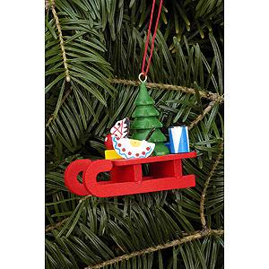 Baumschmuck Weihnachten Christbaumschmuck Schlitten mit Spielzeug - 5,2x4,6 cm