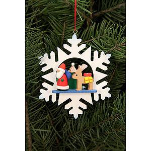 Baumschmuck Weihnachtsmann Christbaumschmuck Schneeflocke Weihnachtsmann mit Rentier - 9,0x9,0 cm